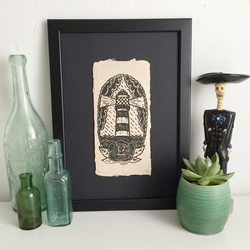 Lino print, art print, tattoo art, handmade, craft, lighthouse, rose
