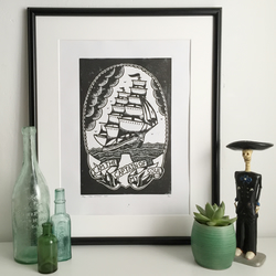 Lino print, hand printed, art print, A3, nautical, tattoo art, ship,