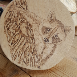 Wooden Pyrography Raccoon
