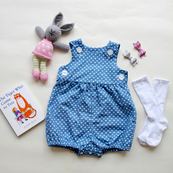 Baby Girl Romper - heart and crown pattern
