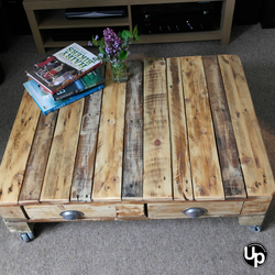 Rustic Reclaimed Wood Coffee Table with Drawers and Castors FREE DELIVERY