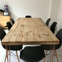 Reclaimed Wood Dining Table 2m x 1m with COPPER Hairpins. FREE DELIVERY