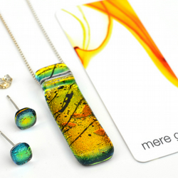 Sunset Orange Dichroic Glass Necklace & Earring Set
