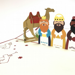 Three Wise Men santa train rainder Handmade 3D Pop UP Greeting & Thank You Card
