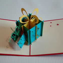 Twin Present Gift  rainder Handmade 3D Pop UP Greeting&Thank You Card