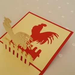 Rooster 3D Pop Up Greeting Card Handmade Happy Birthday Wedding Anniversary Frie