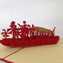 Lover in boat Handmade Kirigami & Origami 3D Pop UP Greeting Cards in Red …