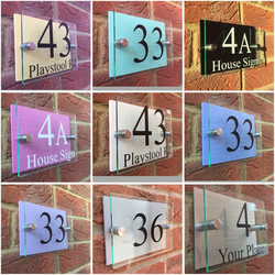 Modern house sign door number plaque  street name Pastel colour backings