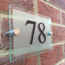 Modern glass acrylic door number plaque, silver frosted house sign