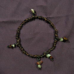 Copper Wire Wrapped Bracelet with Gemstone Charms