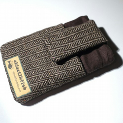 Tweed and chocolate brown linen phone cover