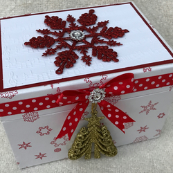 Pretty white snowflake box with dangling Christmas tree decoration