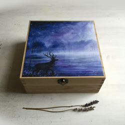 Woodland Deer - Large Jewelry Trinket Memory Box - Art Box - 20 x 20 cm