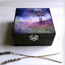 Secrets In The Light-Small Hand Painted Stars Painted Jewelry Trinket Memory Box