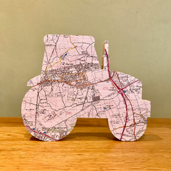 Map tractor, wooden tractor map gift, wooden map art. Personalised map Farmer