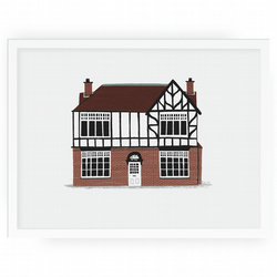 Personalised Illustrated home or shop portrait framed 30x40cm