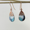 Enamel and Textured Copper Dangle Earrings
