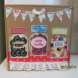 Hand made greetings card with Cath Kidston fabric bunting sweet jars birthday