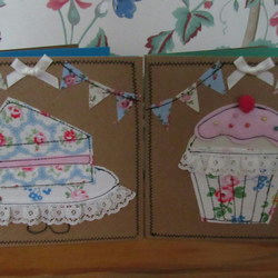 Hand crafted fabric greetings cards with Cath Kidston fabric machine sewn