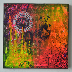 Original Bright Gothic Psychedelic Forest Art Gift,Modern Neon Home Art Gift