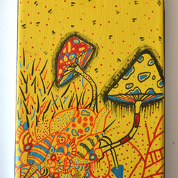 Original Bright Gothic Psychedelic Mushrooms, Wall Art Gift,Modern Home Gift