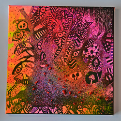Original Bright Gothic Psychedelic Home Decor Gift,Pink,Purple,Skulls Wall Art