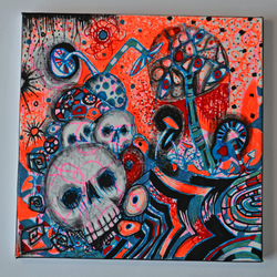 Original Bright Gothic Psychedelic Home Decor Gift,Blue,Orange,Skulls Wall Art
