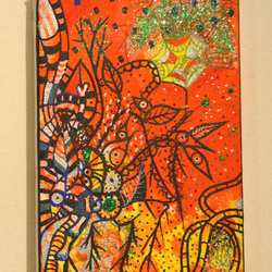 New Original Bright Gothic Psychedelic Wall Art Gift,Day of the Dead Art Gift