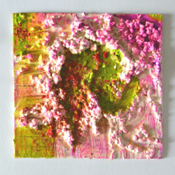 Original Bright Psychedelic Textured Art Gift,Green,Red,Pink Painting