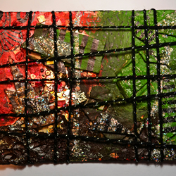 New Original Abstract Oil Painting,Bright Modern Textile Art,Green,Red,Black