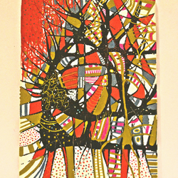 Original Abstract Modern Trees Painting,Red,Gold,Black,White,New Home Gift