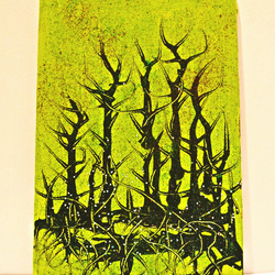 Original Abstract Modern Oil Painting,Green,Black,Trees, Forest ,New Home Gift