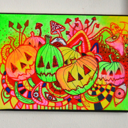 Original Bright Gothic Psychedelic Wall Art Gift,Mexican Day of Dead Art Gift