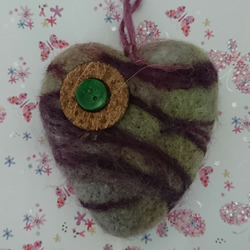 Heather Mist  - Needle felted heart - Handmade - Home Deco - Sold Separately