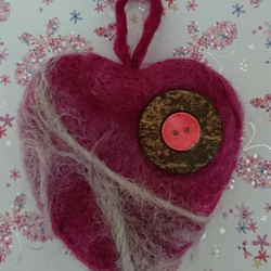 Raspberry Swirl  - Needle felted heart - Handmade - Home Deco - Sold Separately