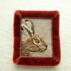 Hare - hand stitched brooch