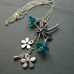Teal Dragonfly necklace