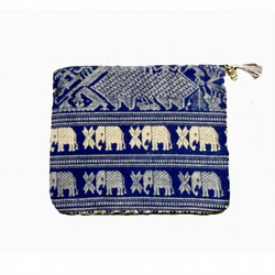 Handmade Thai Royal Elephants CottonZipper Bag, Tarot bag, Tarot Cards Bag.