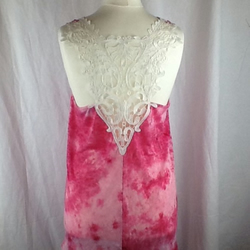 Pink lace back long burnout jersey top size 10-14