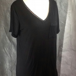 Black t-shirt lace trim neck. Longline loose fit size10-14