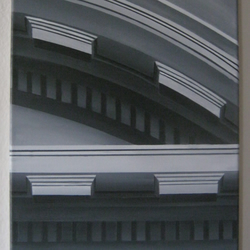 Original contemporary artwork, black and white painting of building detail