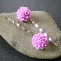 lilac flower hairclips