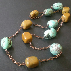 chalk turquoise & mustard jasper necklace