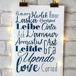 A4 Love Print, Love Around The World, Different Languages Home Interior Decor
