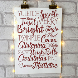 A4 Christmas Print, Festive Typography Xmas Print, Home Interior Decor