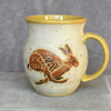 19-119 Running Hare Handmade Ceramic Stoneware Mug (UK postage included)