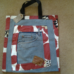 Quality hand made shopping bag from pre loved denims