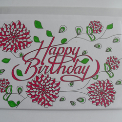 ' Coloured In ' Happy Birthday Card