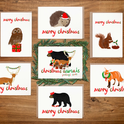 Animal Christmas Card Set - Hand Drawn - Pack of 6 - Bear, Fox, Owl, Deer