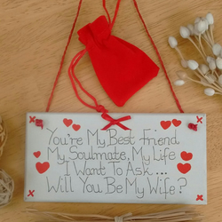 Marry Me? Proposal Plaque With Red Velvet Ring Pouch Unusual And Unique